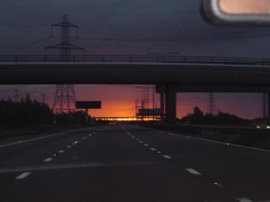 View of the sunrise behind the 2nd Severn Crossing 4th October 2008