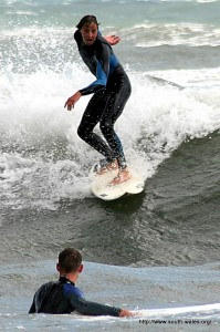 Langland Bay Surfing - Scared surfer