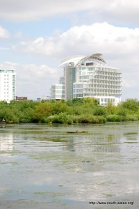 St David's Hotel, Cardiff Bay from across the Cardiff Bay Wetlands Reserve