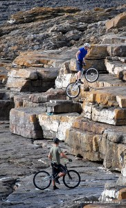 Trials bikes on the rocks at Ogmore by Sea